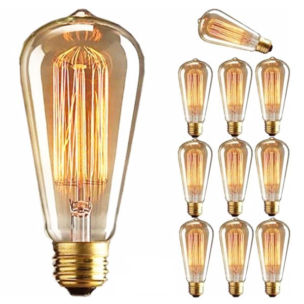 SPONORSHIP WOE29SP2 1 PC Màu trắng ấm áp Đầu nối vít Bóng đèn Trang trí Giá đỡ E27 Đèn Edison Dây tóc Bóng đèn cổ điển Retro Thủy tinh