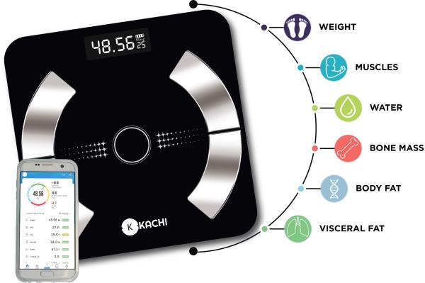 Cân điên tử bluetooth phân tích chỉ số cơ thể Kachi mk223, kiểu dáng sang trọng mỏng đẹp, mặt kính khá dày dặn, chịu lực tốt, sẽ tự động tắt sau vài giây nếu không sử dụng cao cấp