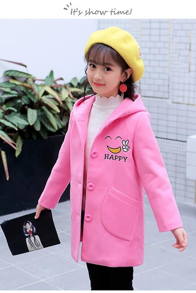 Giá bán Áo khoác form dài mặt cười cho bé gái, chất thun da cá dày ấm mùa thu đông 12-42Kg - Hàng VNXK