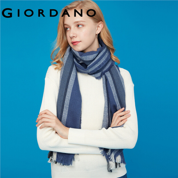 Giordano Women Scarves Stylish Contrast Design Stripe Plaid Scarves British Style Smooth Ladies Scarves Free Shipping 05589601