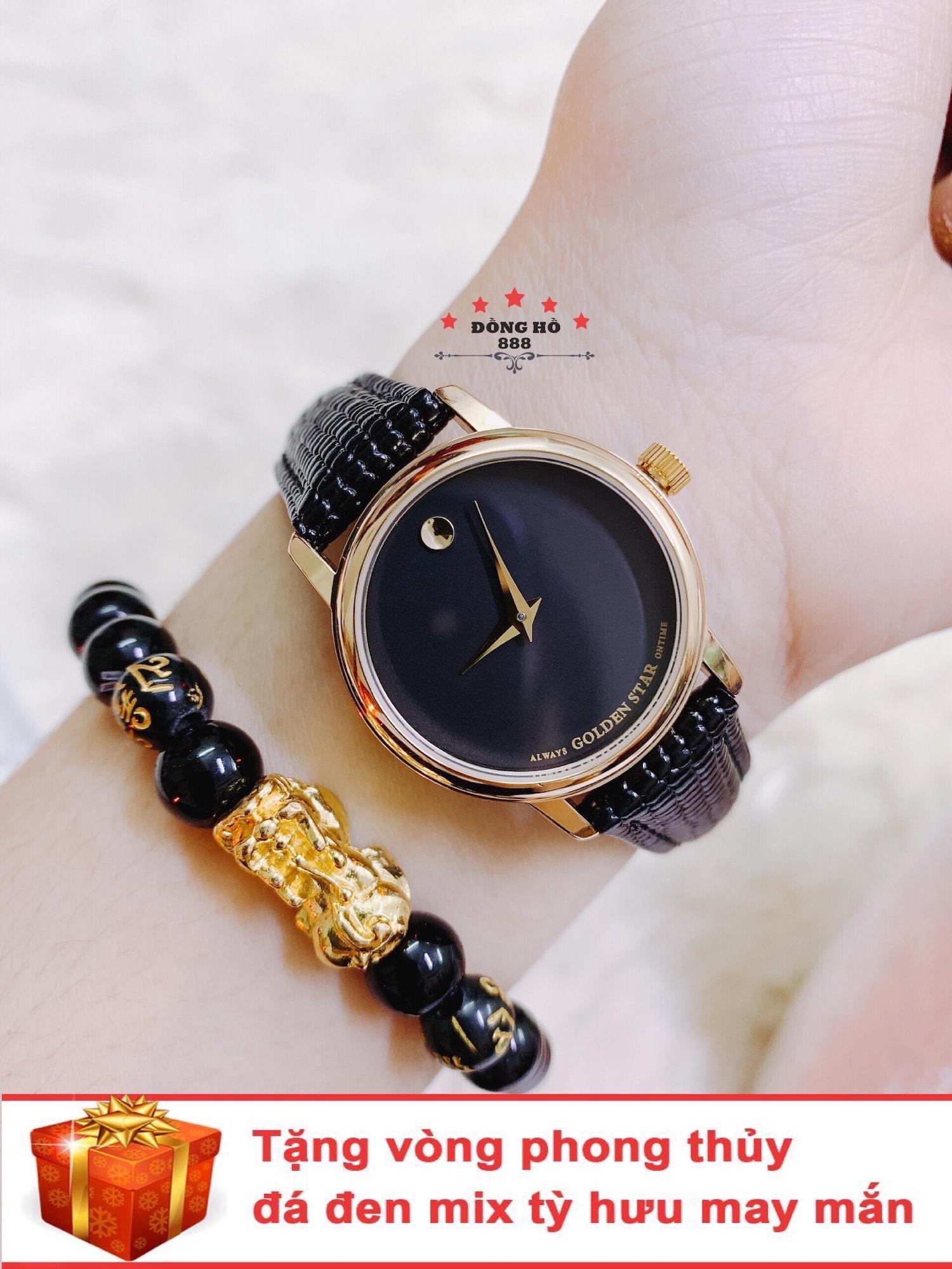 Đồng hồ nữ GOLDEN STAR dây da thời thượng ( dây đen mặt đen ) - TẶNG 1 vòng tỳ hưu phong thuỷ bán chạy