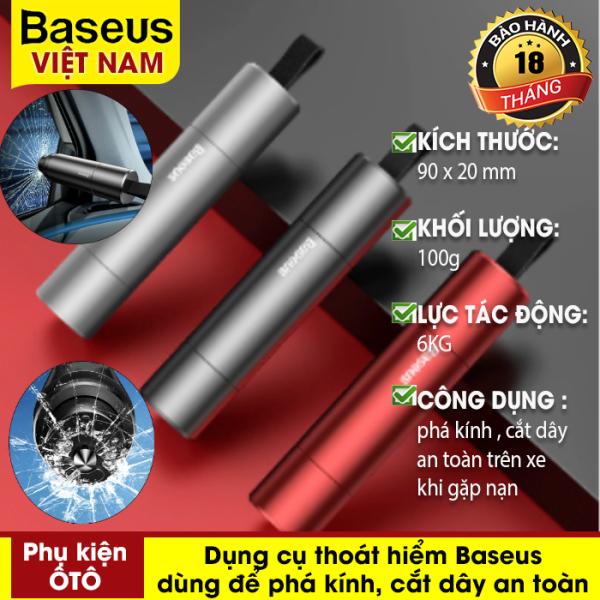 Dụng cụ thoát hiểm Baseus Sharp Tool Safety Hammer dùng để phá kính, cắt dây an toàn trong trường hợp khẩn cấp trên xe hơi