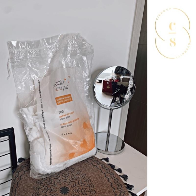 Bông tẩy trang Pháp TETRA LE SOIN LARETAT PUR - 500 miếng phi hữu cơ, đạt tiêu chuẩn Pháp, cotton, mềm, mịn,không vụn bông- CiCivn.88 nhập khẩu