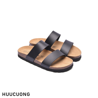 Dép HuuCuong 2 quai đen đế trấu thumbnail