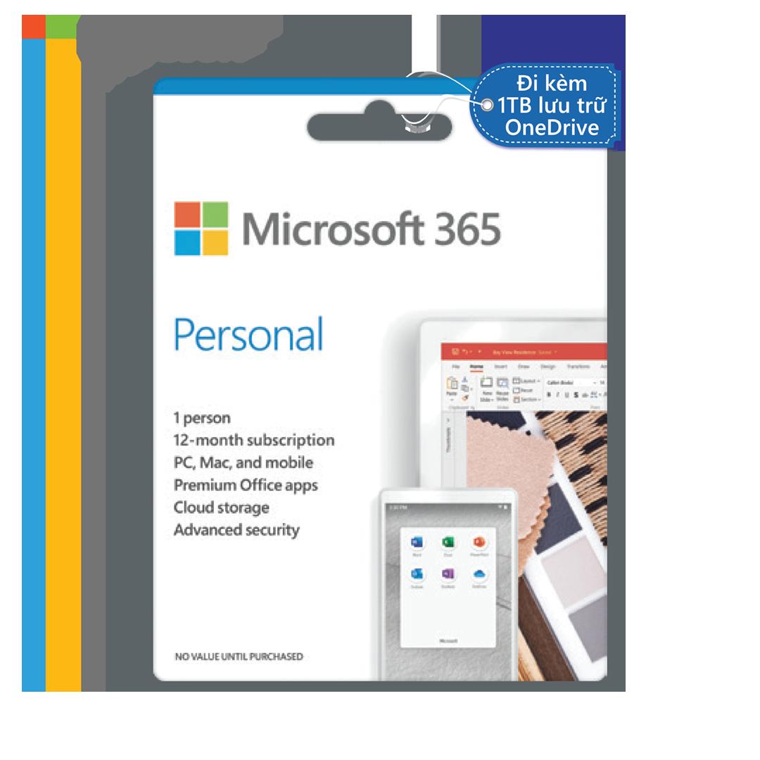 Phần mềm Microsoft 365 Personal | 12 tháng | Dành cho 1 người| 5 thiết bị/người | Trọn bộ ứng dụng Office | 1TB lưu trữ OneDrive