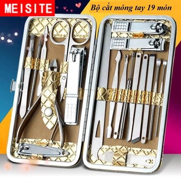 [Chọn Mã] Bộ kiềm cắt móng 15-18-19-20 món thép không gỉ, hộp da vàng rồng dạng ví cầm tay cao cấp