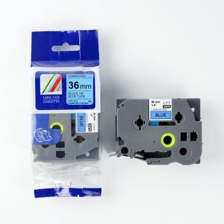 Nhãn in CPT-561 tương thích máy in nhãn Brother P-Touch - Nhãn in chữ đen nền xanh dương khổ 36mm (Blue) thumbnail