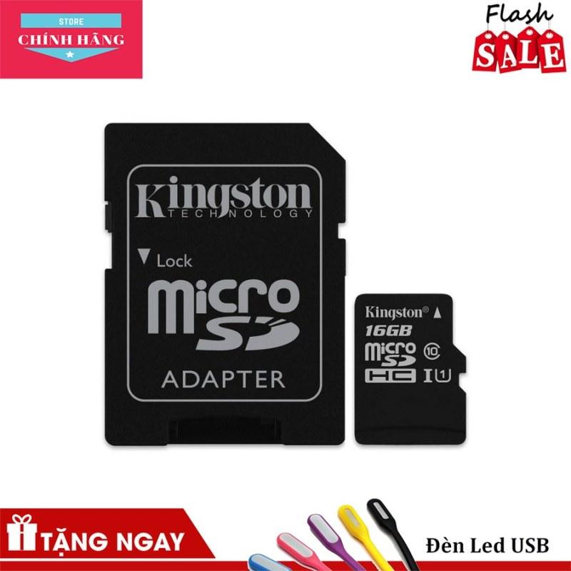Thẻ nhớ micro SDHC Kingston 16GB Class 10 kèm Adapter - Bảo Hành 3 Năm