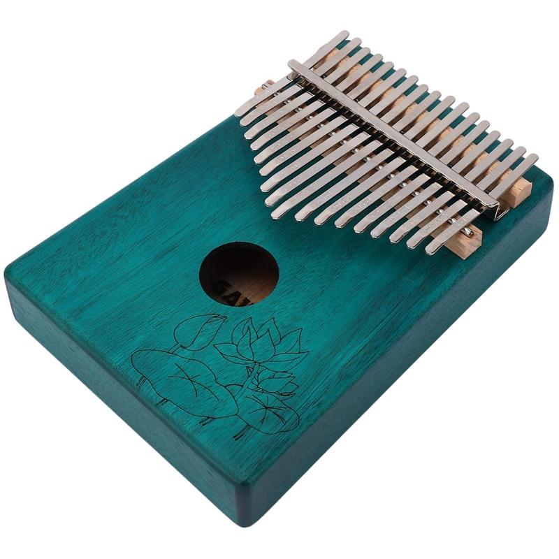 17 Keys Kalimba Lotus Flower Thumb Piano Mahogany Wood Finger Piano Musical Instrument with Tuner Hammer Storage Box Malaysia