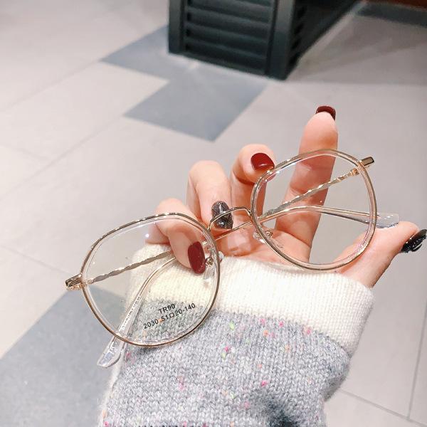 Giá bán Kính mắt thời trang bảo vệ mắt chống tia UV, kính giả cận có thể thay được tròng cận, gọng kính làm bằng kim loại được mạ hợp kim cao cấp chống rỉ sét, mắt kính không độ 044