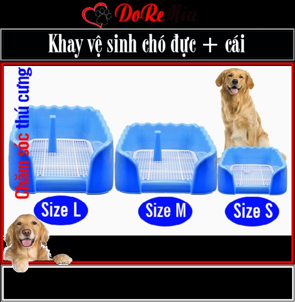 Doremiu- Khay vệ sinh cho chó size M-Trung (loại có 3 tường chắn) chống văng bẩn chất thải ra nền nhà