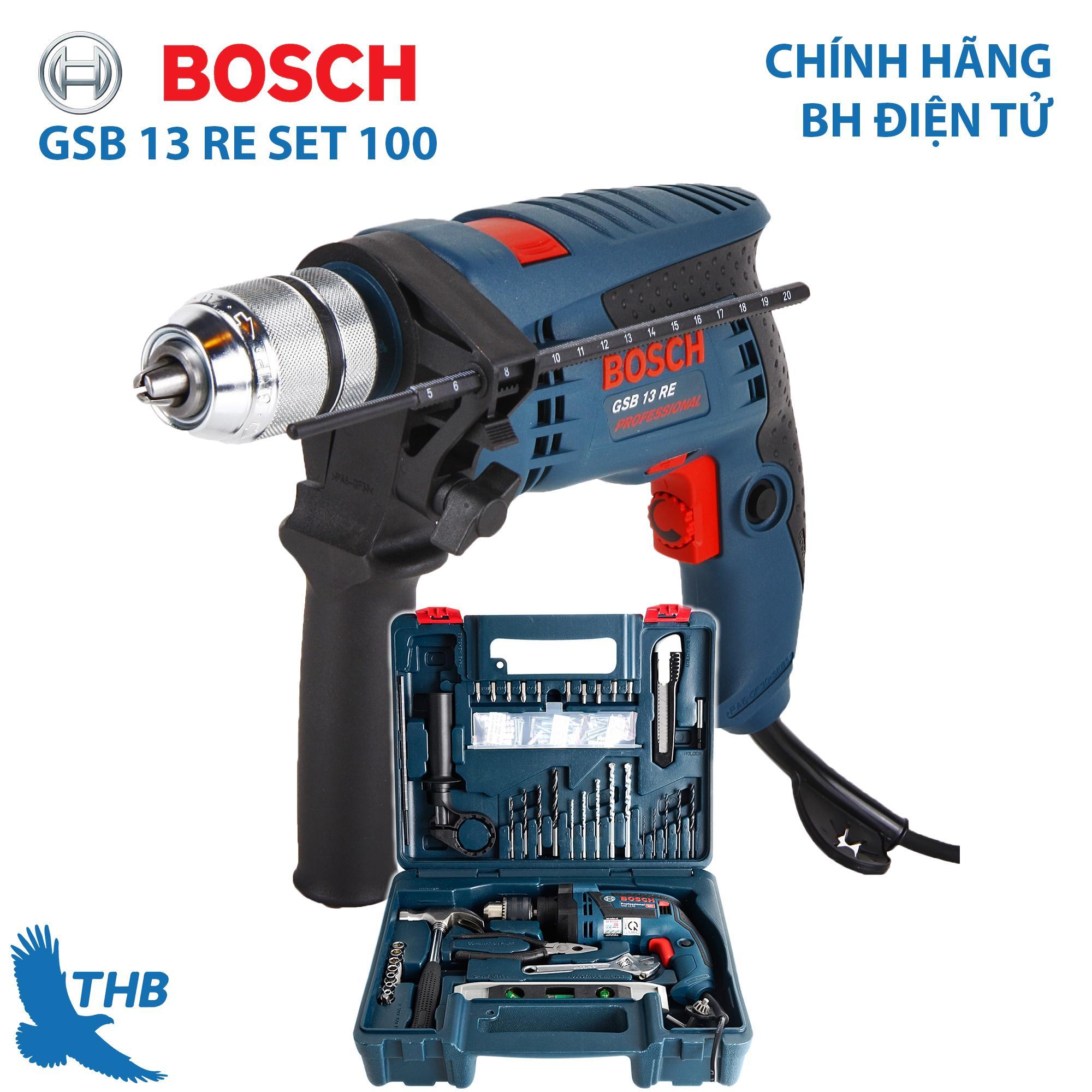Bộ máy khoan gia đinh Bosch Bộ máy khoan đa năng Bosch chính hãng GSB 13 RE SET 100 món Hộp nhựa Bảo hành điện tử 12 tháng