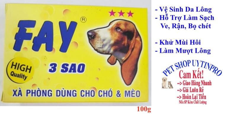 [HCM]XÀ PHÒNG TẮM CHO THÚ CƯNG CHÓ MÈO Fay 3 Sao Vệ sinh da lông Làm sạch ve rận bọ chét Khử mùi hôi Sản xuất tại Việt Nam