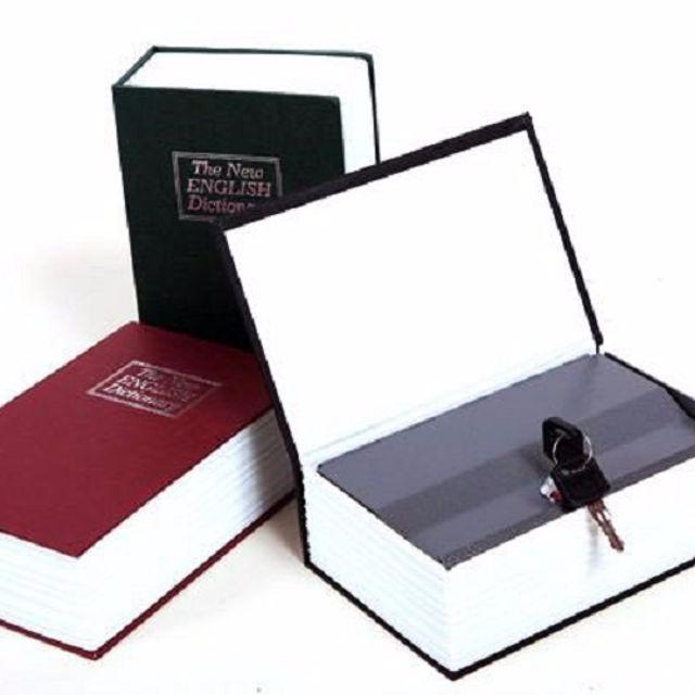 Két sắt giả từ điển, quyển sách khóa bằng chìa loại lớn 12 x 9x 5 cm