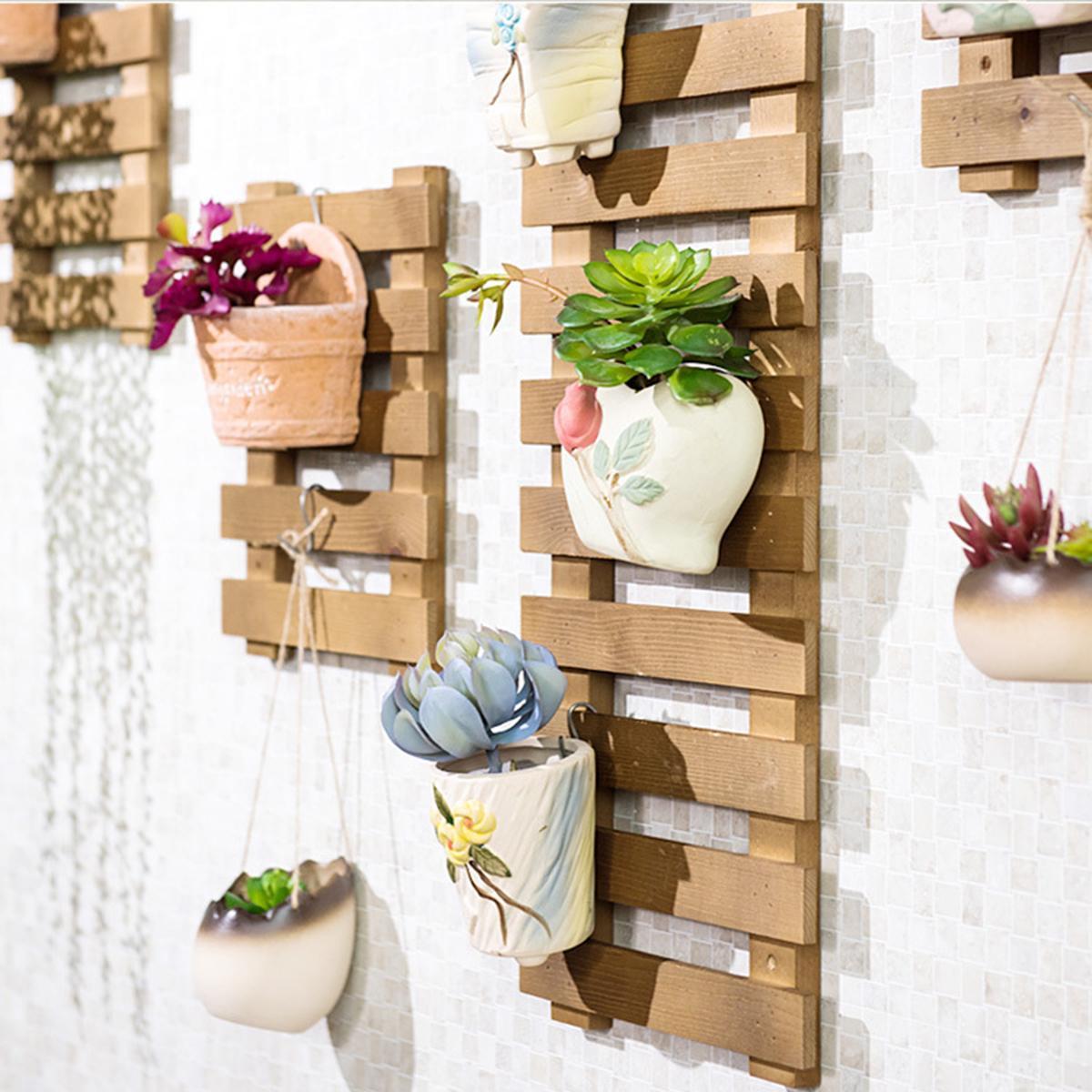 khung gỗ treo chậu hoa, hoa dây leo, trang trí tường-combo4tấm