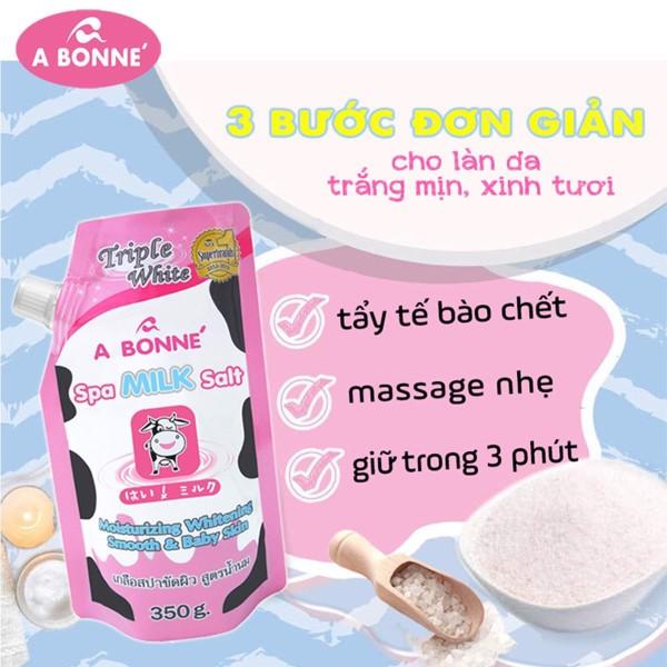 Muối tắm sữa bò tẩy tế bào chết A Bonne Spa Milk Salt Thái Lan 350gr có vòi