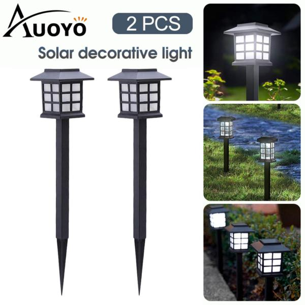Auoyo 2PCS Solar Garden Lights Outdoor Lighting Waterproof LED Solar Stake Light Lantern Style Outdoor Decorative Light Auto On/Off for Garden Yard Pathways