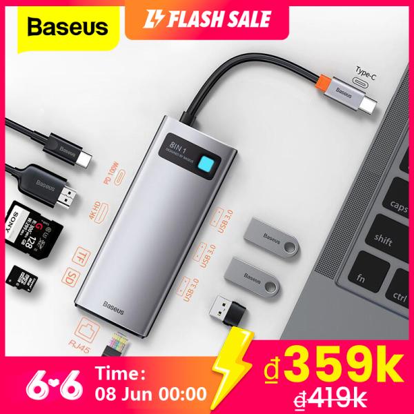 Bảng giá BASEUS USB C HUB Loại C sang HDMI tương thích với USB 3.0 Bộ chuyển đổi 8 trong 1 Loại C Đế cắm HUB RJ45 Đầu đọc SD PD 100W Bộ sạc cho MacBook Pro Air Bộ chia USB C Phong Vũ