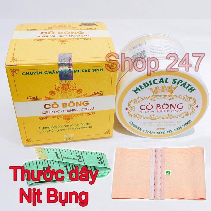 Kem tan mỡ Cô Bông (250g) giúp giảm mỡ bụng kèm NỊT BỤNG và THƯỚC DÂY