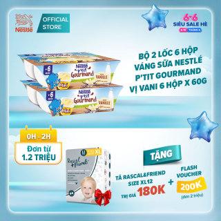 [Thu thập Voucher 200K+Tặng tã quần Rascal& Friend XL12 trị giá 180K] Bộ 2 lốc 6 hộp Váng sữa Nestlé Ptit Gourmand vị Vani (2x6x60g) thumbnail