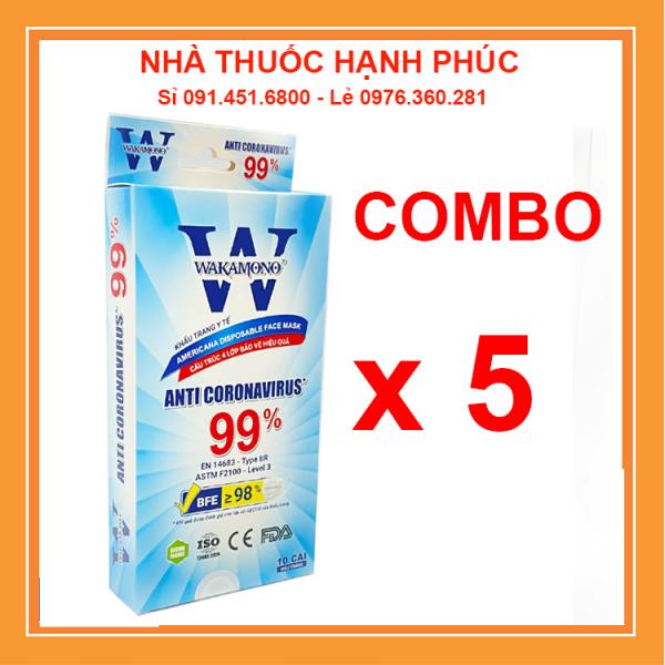 [COMBO 5 HỘP] Khẩu Trang Y Tế Wakamono Chính Hãng ( 4 Lớp Hộp 10 Chiếc ) Diệt 99% Virus Mùi Quế Tự Nhiên cao cấp