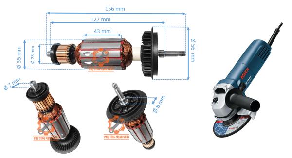 Rotor/ruột máy mài Bossch GWS 6-100 tặng kèm chổi than cao cấp