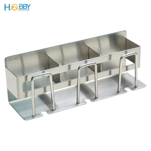 Kệ đựng bàn chải, kem đánh răng Inox 304 có 3 ngăn kèm keo dán tường gạch men - HOBBY CD4M - không rỉ sét