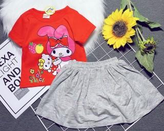 Bộ áo và chân váy siêu dễ thương cho bé gái 8-24kg ( quần váy có may liền quần chip mẹ nha) thumbnail