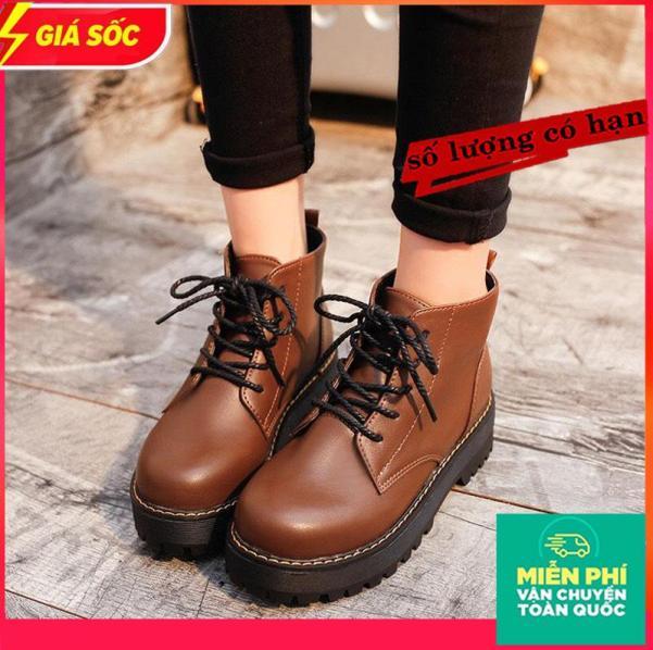 Giày boot nữ phong cách Hàn Quốc giày Boot nữ thời trang cá tính giày tây nữ cao 4p hàng cao cấp giày BOOT NỮ cổ ngắn cột dây đế thô Giày boot nữ cao cấp - TT46 giá rẻ