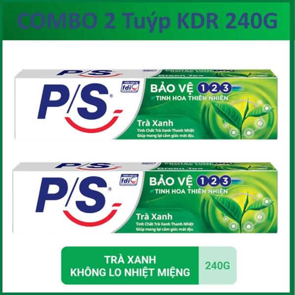 COMBO 2 Tuýp Kem đánh răng P/S 123 Trà xanh 240gX2