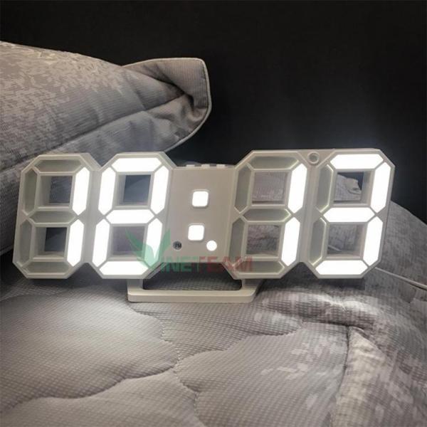 Đồng hồ LED 3D DOCHOIPC treo tường, để bàn cao cấp (Led trắng) HÀNG CHẤT Có 3 mức độ sáng bán chạy
