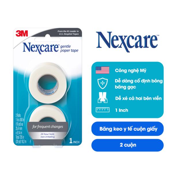 Băng cuộn y tế Nexcare 3M 25.4x9.14mm - Vỉ 2 cuộn trong suốt, xé dễ dàng, keo y tế siêu dính tinh khiết, thoáng khí, không gây kích ứng, an toàn cho da 771-2PK cao cấp
