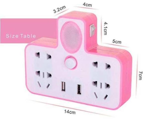 Ổ CẮM ĐIỆN THÔNG MINH KIÊM ĐÈN NGỦ LED - Ổ điện chia 2 cổng USB kiêm đèn ngủ - Ổ điện 2 CỔNG USB CÓ CÔNG TẮC