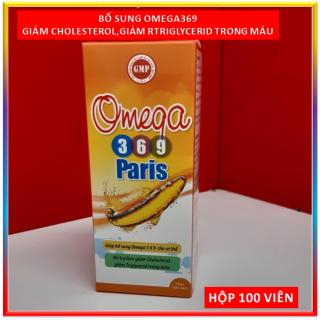 Viên dầu cá Omega 369 Paris - Bổ sung Omega 3-6-9, Vitamin E Giúp giảm Cholesterol, triglycerid, giảm xơ vữa động mạch hiệu quả, Bổ não, sáng mắt, khỏe mạnh tim mạch, tăng cường trí nhớ - Hộp 100 viên Chuẩn GMP Bộ Y tế thumbnail