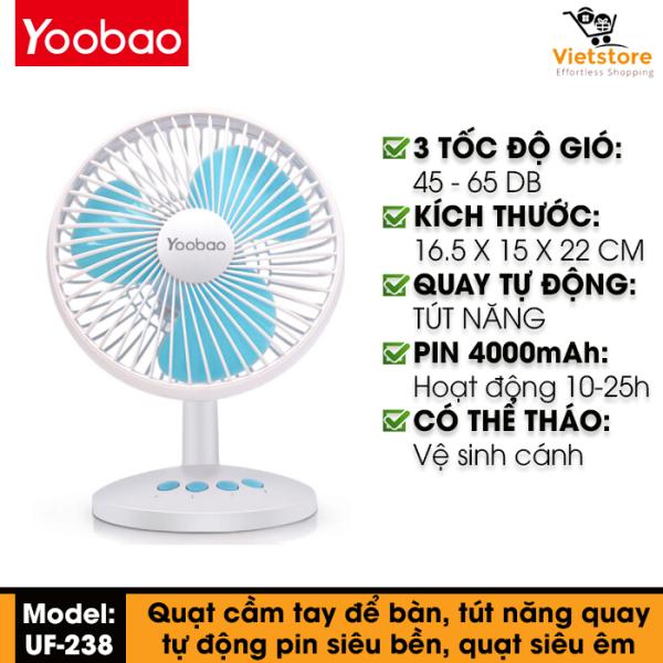 Quạt mini để bàn Yoobao USB Oscillating Fan (UF-238) tích điện pin sạc siêu bền 4000mAh hoạt động liên tục từ 10-16h, góc quay lên đến 90 độ với 3 chế độ gió tùy chỉnh