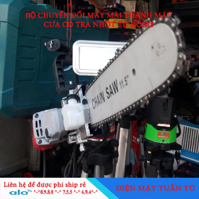 Bộ máy cưa xích điện 220v cho máy mài có bộ tra dầu từ động
