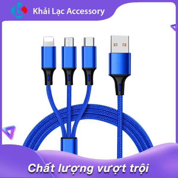 Dây Cáp Sạc đa năng 3 trong 1 hỗ trợ 3 Đầu Lightning - Micro USB - Type C, cáp sạc iphone, cáp sạc samsung, cáp sạc oppo