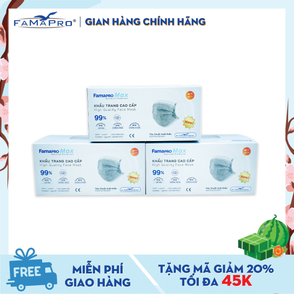 Combo 3 hộp khẩu trang y tế cao cấp 4 lớp Famapro Max kháng khuẩn (40 cái / Hộp) cao cấp