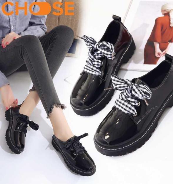 Dày OXFORD Nữ/Giày Boots Đẹp Dây Caro Bản To Phong Cách Mùa Đông Năm Nay 2311 giá rẻ