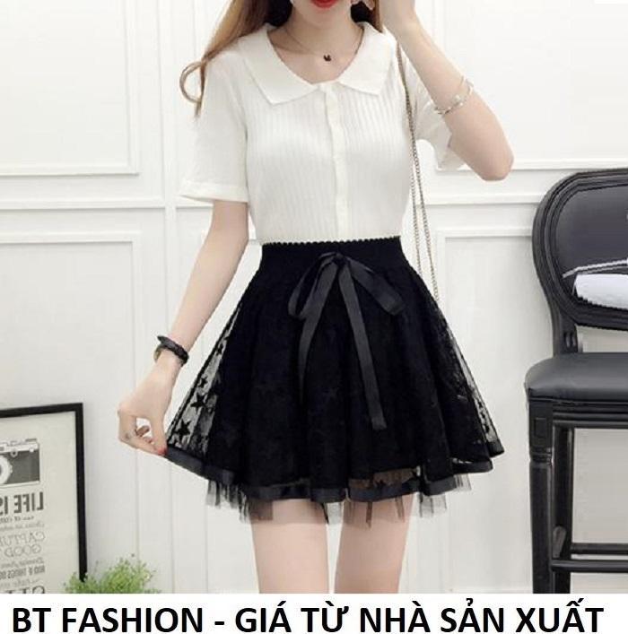 Chân Váy Xòe Lưới Ngắn Duyên Dáng Thời Trang Hàn Quốc - BT Fashion (VA02A- Lưới)