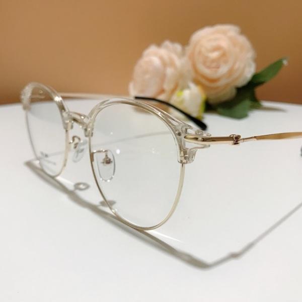 Giá bán Gọng kính cận nữ Hàn 2736 kính nửa viền mỏng bảo hành 12 tháng gọng tròn bầu trong suốt nhựa dẻo kính trắng giả cận