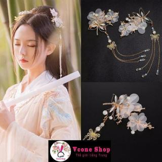 Cài tóc cổ trang hoa bướm phụ kiện kẹp tóc nữ tính xinh xắn dễ thương cosplay thumbnail