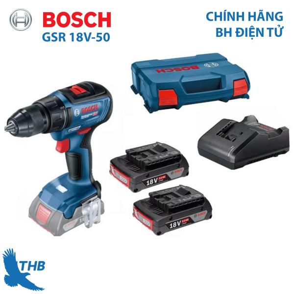[Trả góp 0%] Máy khoan/bắt vít dùng pin Bosch GSR 18V-50 Mô tơ không chổi than mạnh mẽ cho độ bền