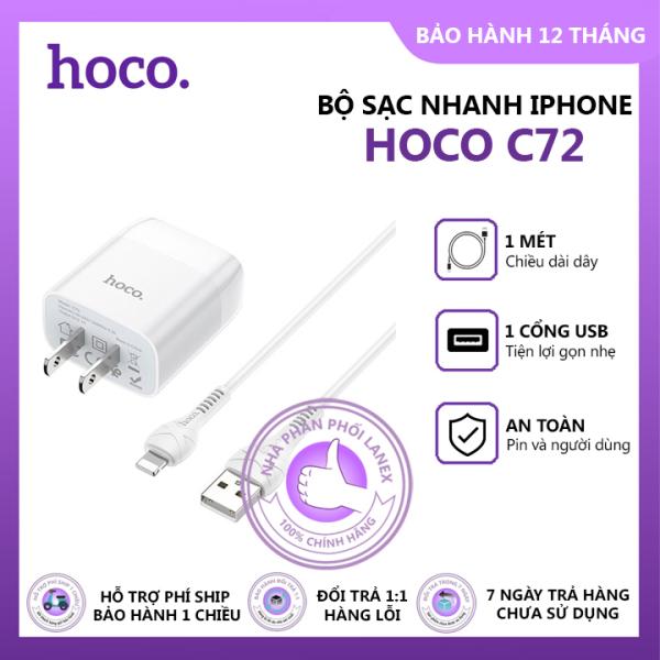Bộ sạc nhanh iPhone 1 cổng USB Hoco C72, dây sạc dài 1m, cổng kết nối Lightning, tương thích với điện thoại iPhone 5 trở lên - Combo cáp sạc và cóc sạc