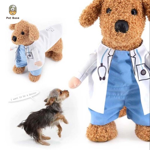 Pet Clothes Cat Dog Cosplay Doctors Costume Puppy White Gown Funny Coat Party Dress