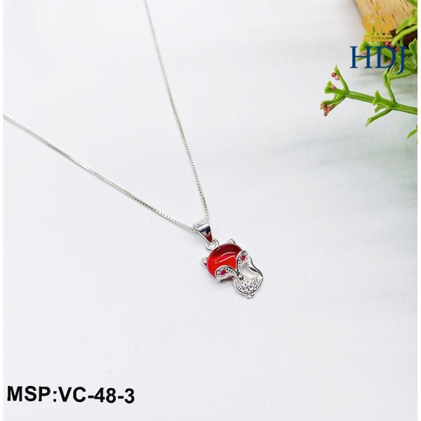 Dây chuyền bạc 925 Hình Hồ ly phong thủy may mắn đính đá nhiều màu trang sức cao cấp HDJ mã VC-48-3