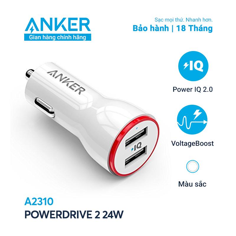 【In stock】Sạc ô tô ANKER 2 cổng PowerDrive 2 24W - A2310
