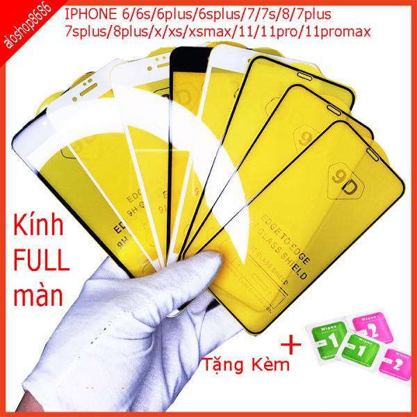 Kính cường lực  FULL MÀN HINH iphone 6,6s,7,7s,8,6plus,6splus ,7plus,7splus,8plus,x,xs,xs max,11, 11 pro,11 pro max, Kính full màn thế hệ mới,chất lượng cao. aloshop8686