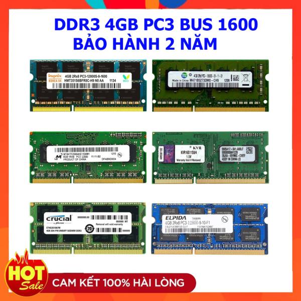 Ram laptop DDR3 4GB Bus 1600 PC3 10600 Samsung Hynix Micron Elpida Kingston...