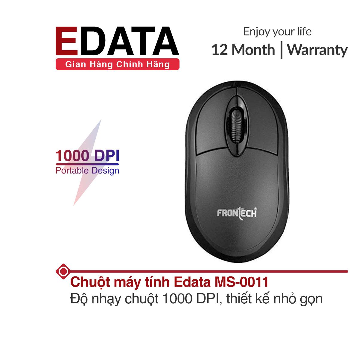 Chuột có dây Edata MS-0011, độ nhạy chuột 1000 DPI, hỗ trợ cho cả người dùng tay trái và phải, thiết kế nhỏ gọn